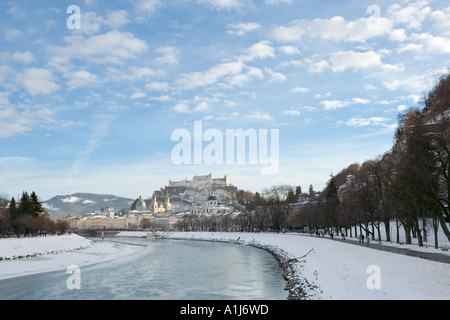 River Salzach with the Old Town and Hohensalzburg Fortress in the distance, Salzburg, Austria - Stock Photo