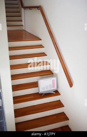 High angle view of a model of computer monitor on a staircase - Stock Photo