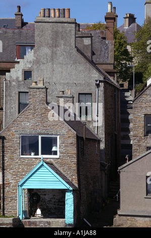 Seafront homes in Stromness harbour in Mainland Orkney in Scotland UK - Stock Photo