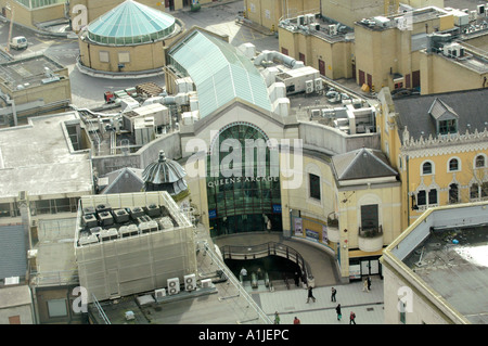 View over Queen's Shopping Arcade in Cardiff city centre South Wales UK - Stock Photo