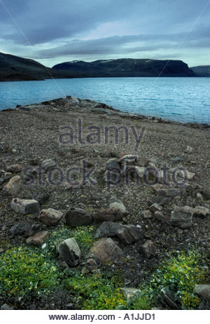 Ancient camping site Baffin Island showing Inuit tent ring - Stock Photo