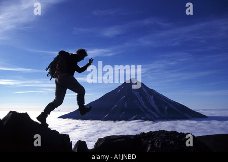 Volcano trekking on the Kamchatka Peninsula in the Russian Far East - Stock Photo