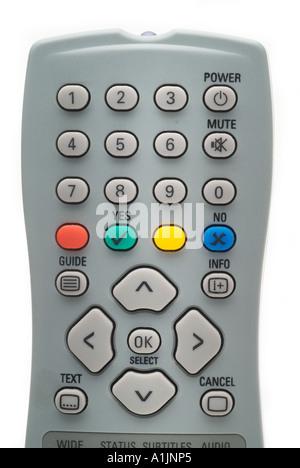 grey tv remote control free view digital - Stock Photo