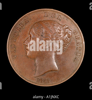 one penny Victoria Victorian queen empress empire widow royal bronze young bun 1858 britanniar dei gratia fid def - Stock Photo