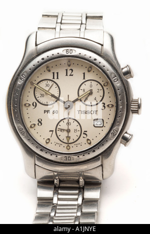 Tissot chronograph wrist watch time piece titanium sapphire hour minute second date day luminous hand finger elapsed - Stock Photo