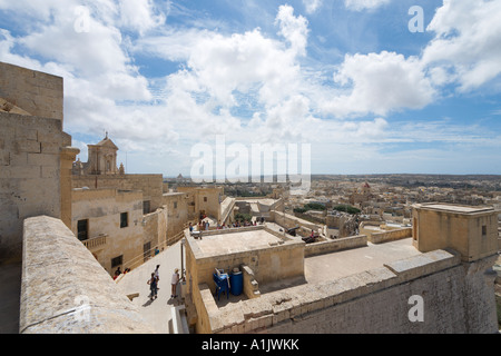 View over the city from the walls of the Citadella, Victoria (or Rabat), Gozo, Malta - Stock Photo