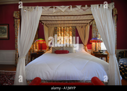 Bedroom at Lowndes Grove Plantation Hotel in Charleston, South Carolina - Stock Photo