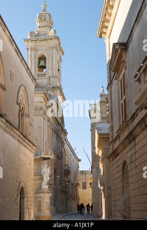 Typical street in the medieval walled city of Mdina (once the island capital), Malta - Stock Photo