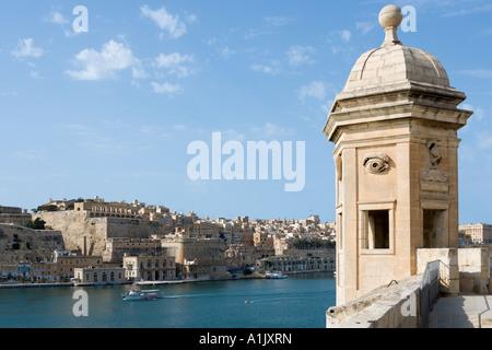 View of Valletta and Grand Harbour from Senglea, Valletta, Malta - Stock Photo