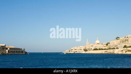 View over Marsamxett Harbour towards Valletta and Fort Manoel from Ta Xbiex, Malta - Stock Photo