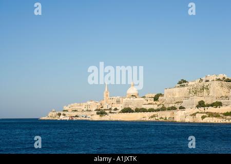 View over Marsamxett Harbour towards Valletta from Ta Xbiex, Malta - Stock Photo
