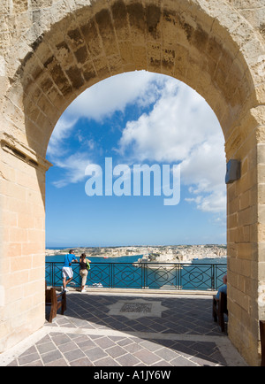 View over Grand Harbour and Fort St Angelo from Upper Barracca Gardens, Valletta, Malta - Stock Photo