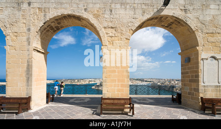 View over Grand Harbour, Vittoriosa and Fort St Angelo from Upper Barracca Gardens, Valletta, Malta - Stock Photo