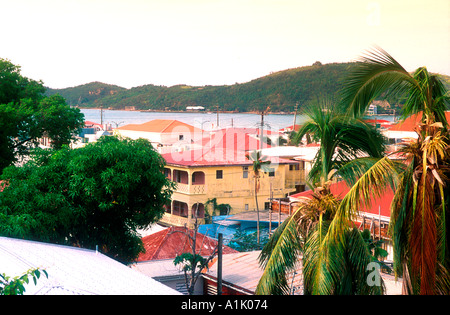 Red roof tops of buildings in Charlotte Amalie St Thomas capital US Virgin Islands - Stock Photo
