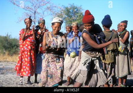 Deniui village near Tsumkwe in Kalahari Desert East Namibia one of most heavily studied peoples San bushmen have - Stock Photo