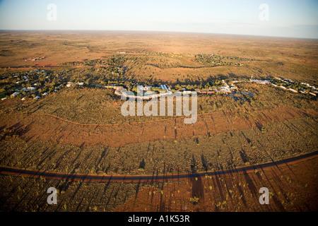 Yulara Village near Uluru Ayers Rock Northern Territory Australia aerial - Stock Photo