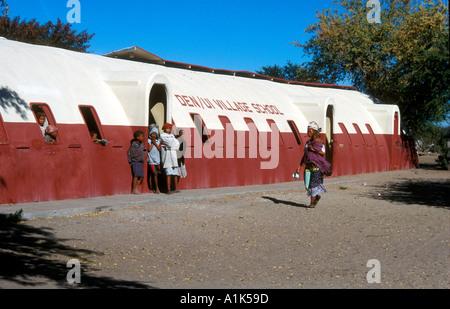 School donated to Deniui village near Tsumkwe in Kalahari Desert East Namibia one of most heavily studied peoples - Stock Photo