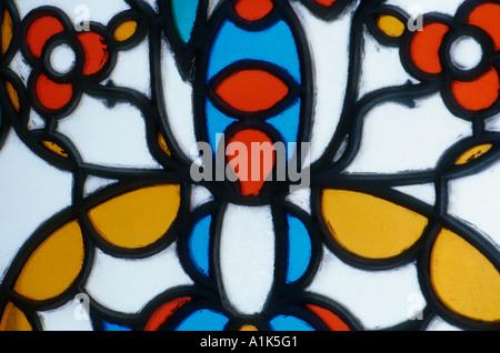 Havana Cuba Stained glass windows in the Casa del Conde de San Juan de Jaruco Plaza Vieja - Stock Photo