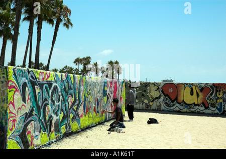 Venice Art Walls on Venice Beach in Los Angeles Stock Photo ...