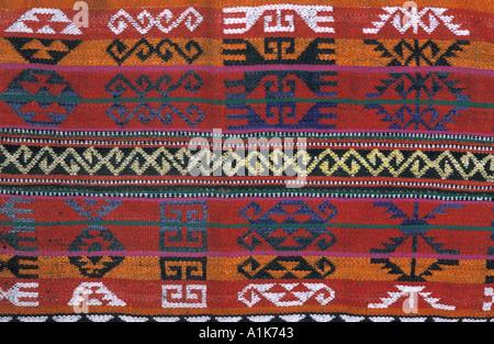 Woven woollen fabric with geometric motifs from a shop in Peshawar Pakistan - Stock Photo