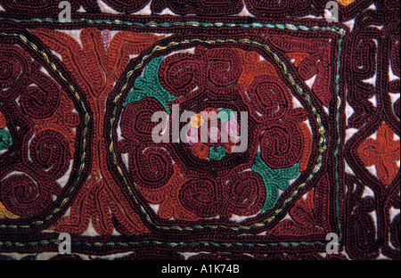Detail of finely embroidered costume purchased in a shop in Peshawar similar for sale in Kashgar Pakistan - Stock Photo