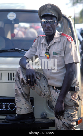 Member of paramilitary style group in uniform for the main Herero festival which falls in August each year Okahandja - Stock Photo