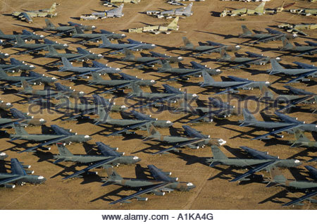 B-52 Bombers await the guillotine at the Airplane Graveyard Davis Monthan Air Force Base - Stock Photo