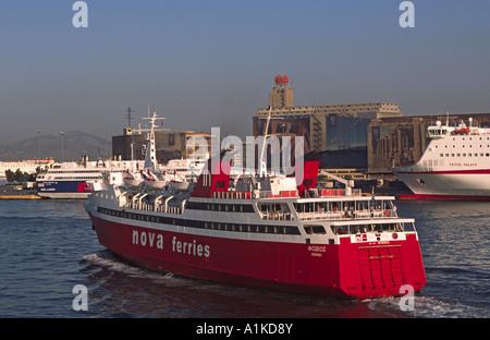 Phivos of Nova Ferries leaving Piraeus in Greece, bound for Aegina. - Stock Photo