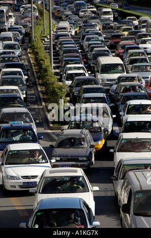 Worst traffic jam in Beijing China. 20 Aug 2006 - Stock Photo