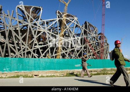 Construction Site of National Stadium for 2008 Olympic Games in Beijing China 8 Sep 2006 - Stock Photo