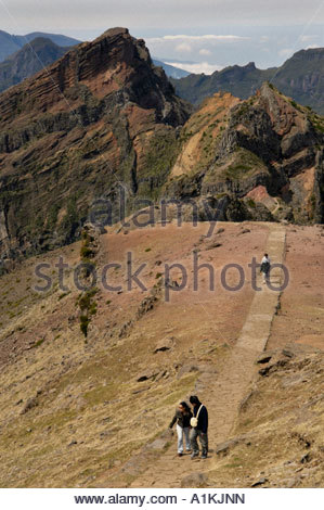 High angle view of people walking through pedestrian on hills, Portugal - Stock Photo