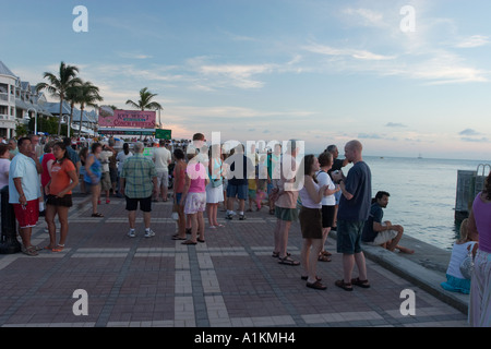 Watching the sunset from Mallory Square in Key West Florida. - Stock Photo