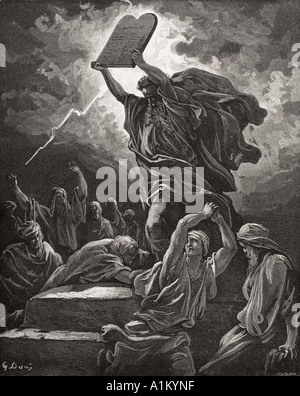Engraving from The Dore Bible illustrating Exodus xxxii 19 Moses Breaking the Tables of the Law by Gustave Dore - Stock Photo