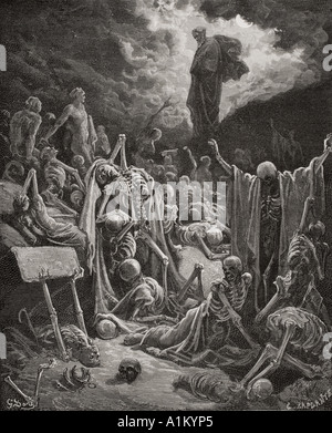Engraving from The Dore Bible illustrating Ezekiel xxxvii 1 and 2 The Vision of the Valley of Dry Bones by Gustave - Stock Photo