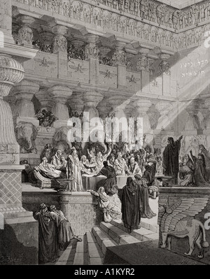 Engraving illustrating Daniel v 25 to 28 of Daniel Interpreting the Writing on the Wall from the Dore Bible by Gustave - Stock Photo