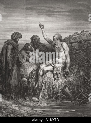 Engraving from the The Dore Bible illustrating Job vi 1 to 4 Job and his Friends by Gustave Dore - Stock Photo