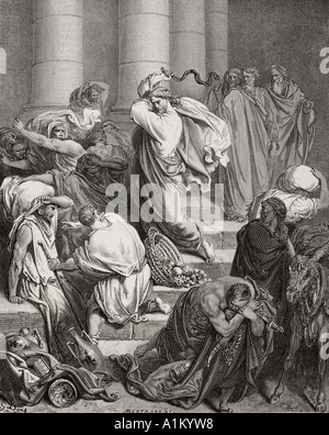 Engraving from The Dore Bible illustrating Luke xix 45 and 46 The Buyers and Sellers Driven Out of the Temple by - Stock Photo