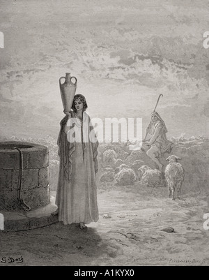 Engraving from The Dore Bible illustrating Genesis xxix 20 Jacob Keeping Labans Flocks by Gustave Dore - Stock Photo