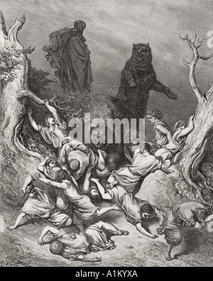 Engraving from The Dore Bible illustrating 2 Kings ii 23 and 24 The Children Destroyed by Bears by Gustave Dore - Stock Photo