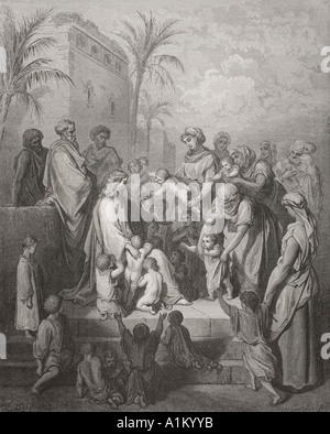 Engraving from The Dore Bible illustrating Mark x 13 to 16 Jesus Blessing the Children by Gustave Dore - Stock Photo