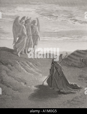 Engraving from The Dore Bible illustrating Genesis xviii 1 to 8.  Abraham and the Three Angels by Gustave Dore - Stock Photo