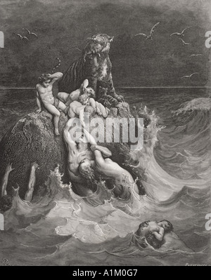 Engraving from The Dore Bible illustrating Genesis vii 20 to 24 The Deluge by Gustave Dore - Stock Photo