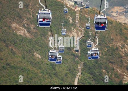 Ngong Ping 360 Skyrail connecting Tung Chung and Ngong Ping, Lantau Island, Hong Kong - Stock Photo