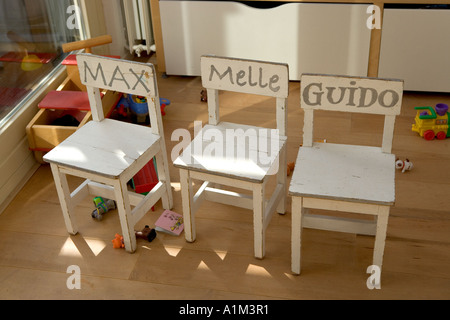 Childrens chairs in a nursery - Stock Photo
