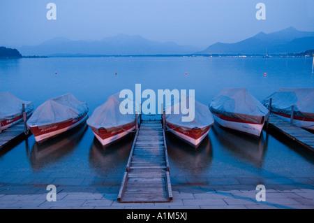 Boats and lake, Chiemsee, Bavaria, Germany - Stock Photo