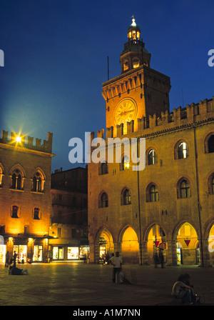 Piazza Maggiore, Bologna, Emilia-Romagna, Italy - Stock Photo