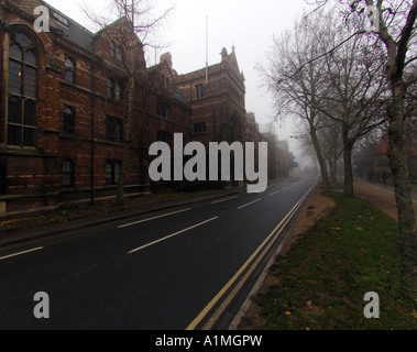 Keble College Oxford in the winter mist - Stock Photo