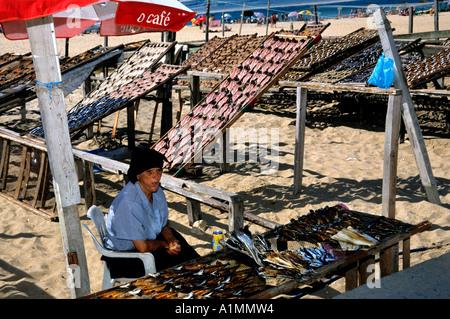 Nazare Beach Portugal Portugese fish port fishing - Stock Photo