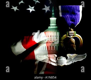 Soft Focus Digital Merg Washington DC Capitol The Purple Heart American Flag Patriotic Symobols - Stock Photo