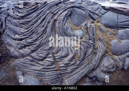 Pahoehoe basalt and Pele's hair along Mauna Iki Trail, Volcanoes National Park, Hawaii - Stock Photo